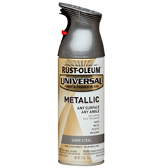 Rustoleum Metallic spray paint in Satin Nickel.