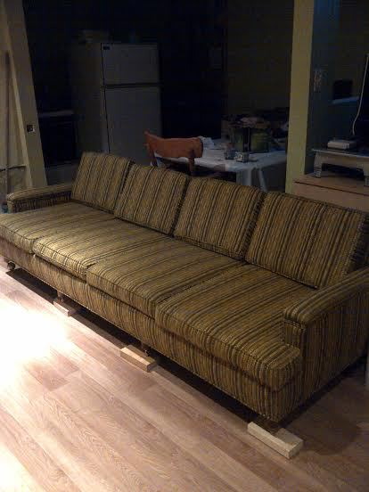 i really wanted to reupholster but being the impatient person that i am and wanting to rid my family room of the sofa and loveseat weve had for years - Mad Men Sofa